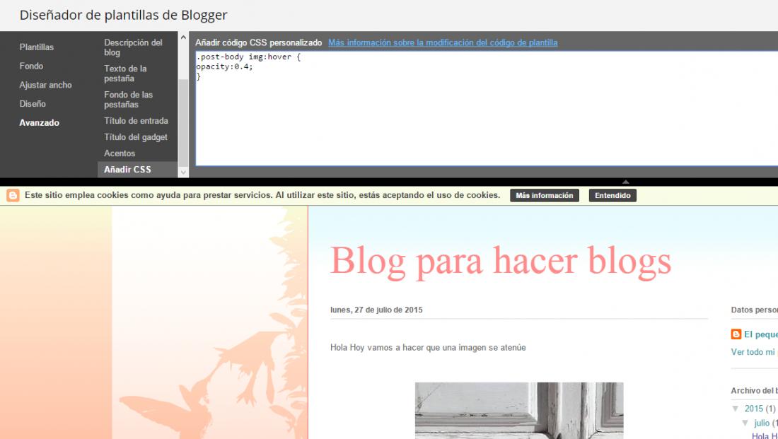 aclarando las imagenes en blogger
