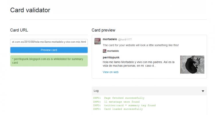 validar tarjetas de Twitter cards para blogger