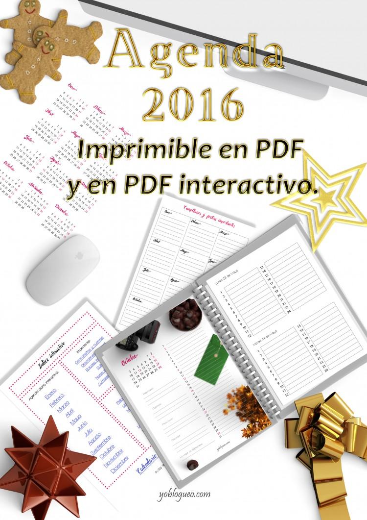 Calendario 2016 gratis con planner imprimible e interactivo en PDF