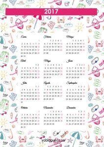 calendario año 2017 español