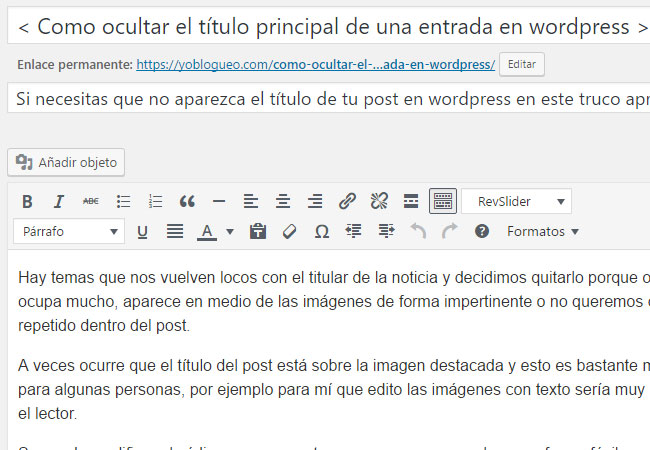 ocultar titulares en wordpress