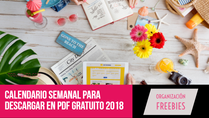 Calendario semanal para descargar en PDF gratuito 2018