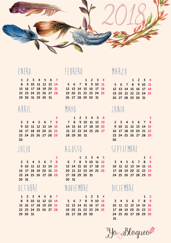calendarios-2018-gratis-imprimir-boho