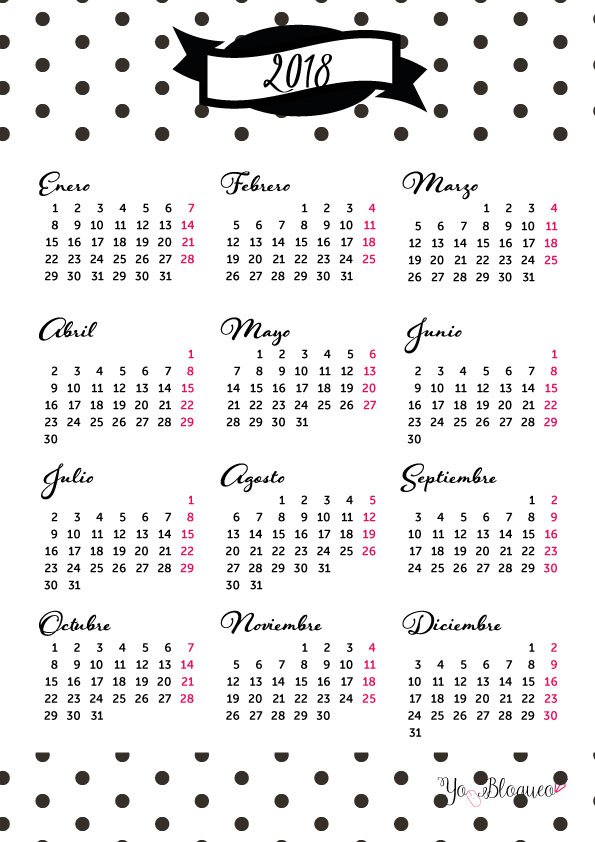 calendarios chulos 2018