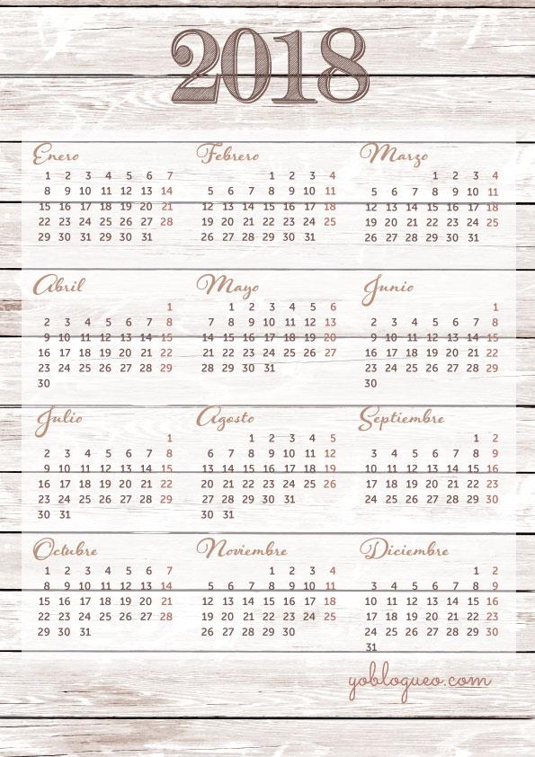 Calendario 2018 en PDF e imprimible gratis con planner en varios modelos