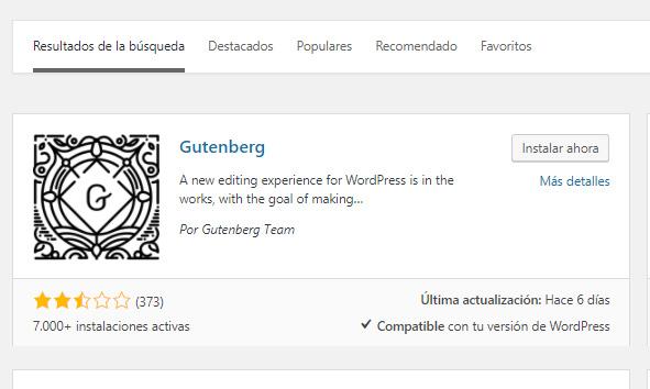 Gutenberg la nueva actualización del editor de WordPress