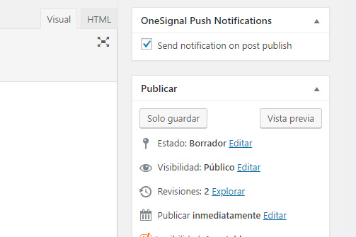 clnfigurar las alertas push en wordpress