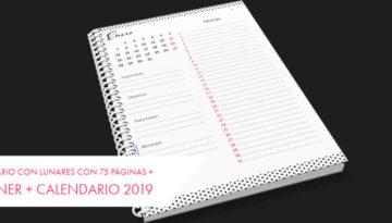 Calendario con lunares con 75 páginas + planner + Calendario 2019