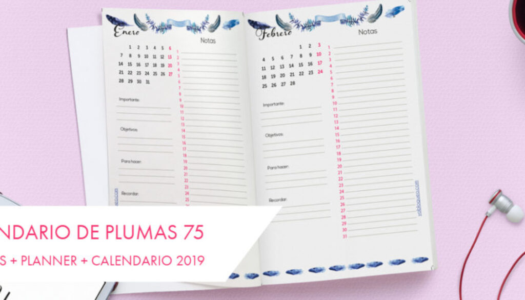 Calendario de plumas 75 páginas + planner + Calendario 2019