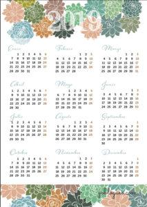 calendario-2019-suculentas-pdf-gratis