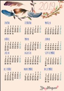 calendario 2019 para imprimir gratis PDF