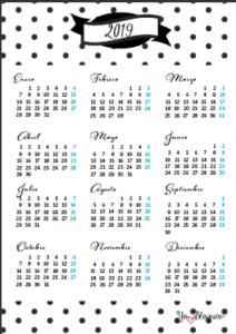 calendario 2019 tamaño folio para imprimir
