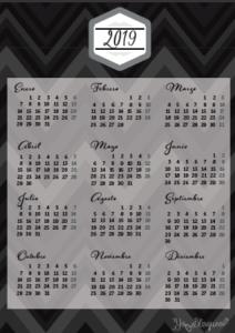 calendario 2019 tamaño folio negro
