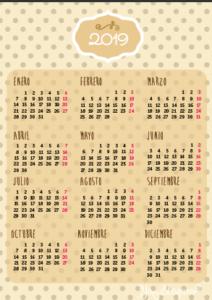 calendario tamaño folio pdf 2019