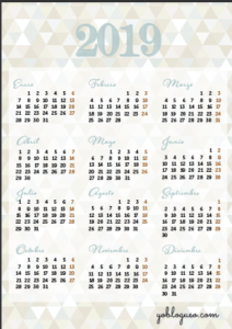calendario 2019 tamaño folio gratis color crema