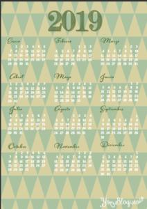 calendario 2019 tamaño a4