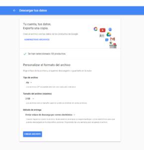 guarda los datos que tienes en Google