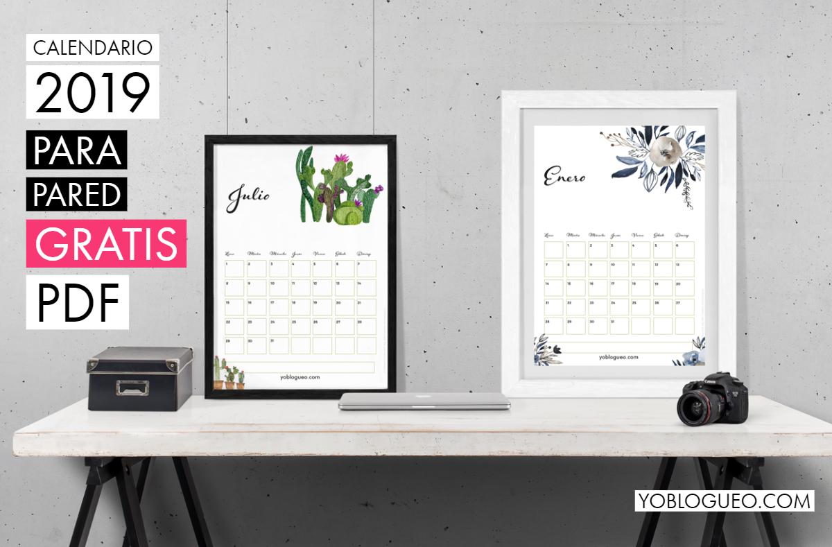 calendario de pared con flores