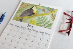 calendario 2019 pared con animales