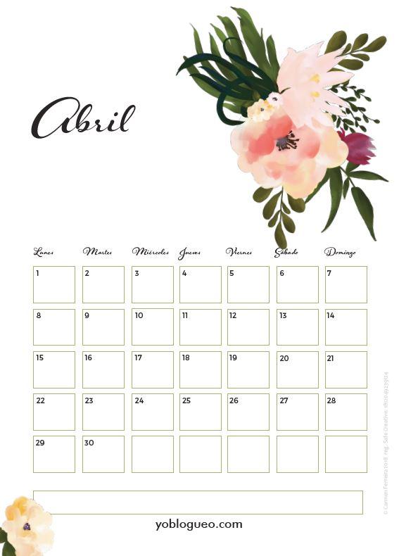 calendario abril 2019 flores