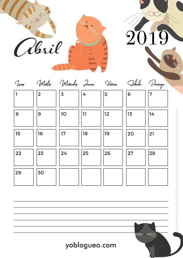 calendario abril 2019 gatos