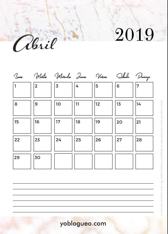 Calendario Abril Para Imprimir Descargable 2019 Gratis