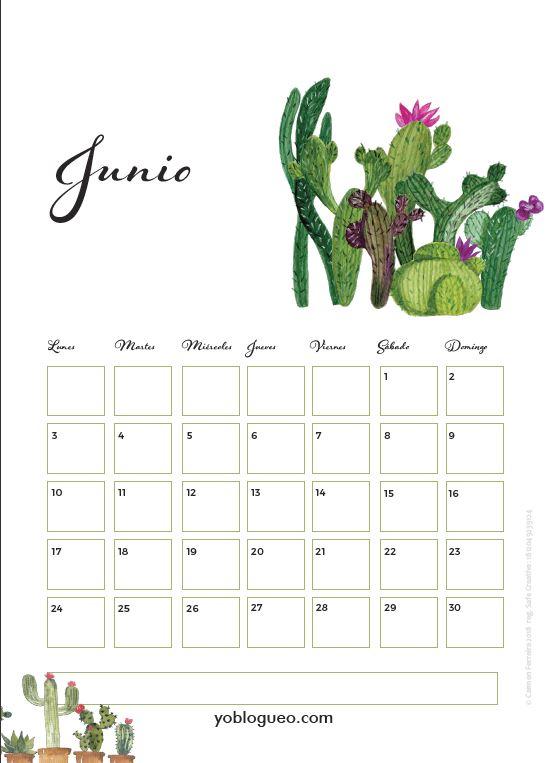 calendario junio 2019 con cactus