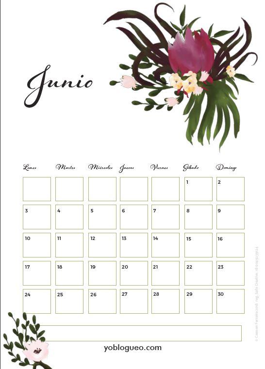 calendario junio 2019 flores