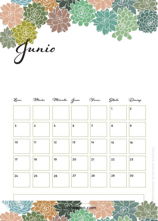 calendario junio 2019 suculentas