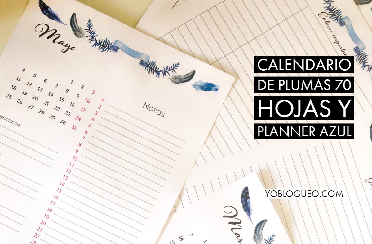 Calendario de plumas azules 70 páginas con planner Calendario 2020