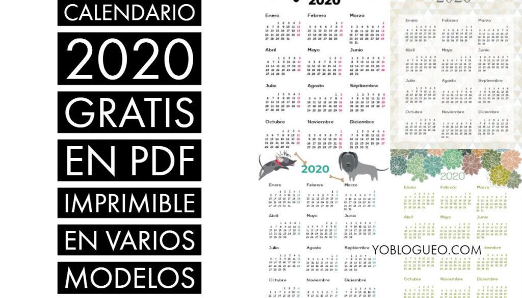 Calendario 2020 Gratis En Pdf Imprimible En Varios Modelos En A4 Folio