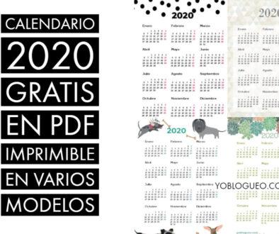 Calendario 2020 gratis en PDF imprimible en varios modelos