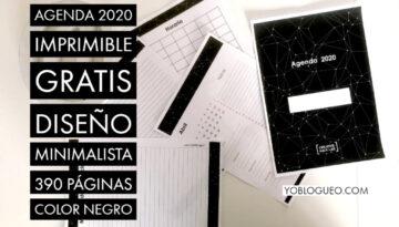 Agenda 2020 imprimible gratis diseño minimalista 390 páginas color negro