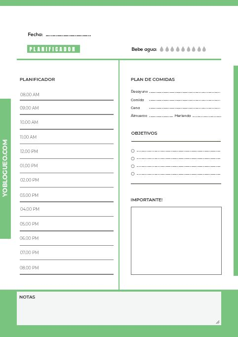 descargar planificador diario verde