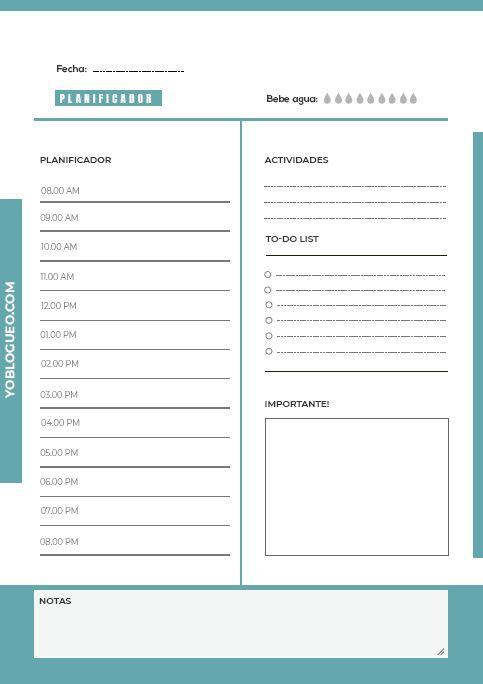 planificador diario azul