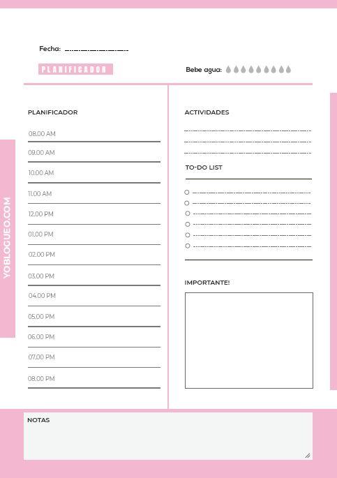 planificador diario rosa