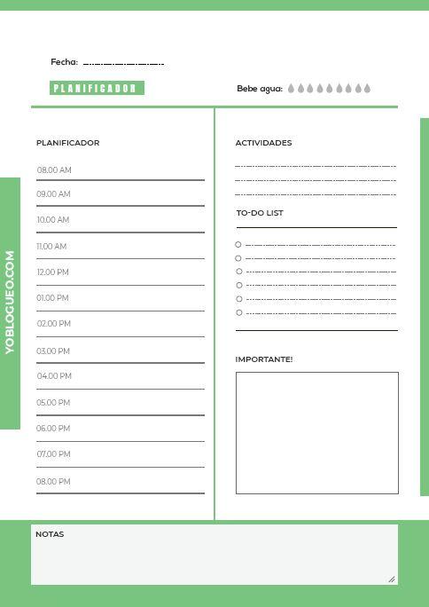 planificador diario verde